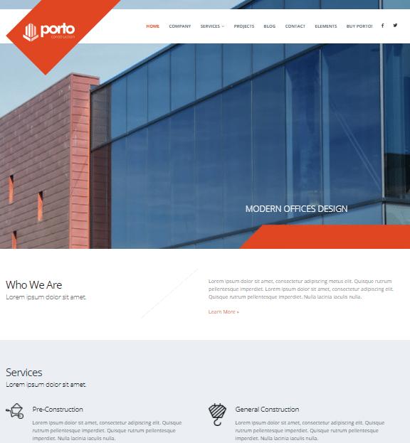 قالب شرکتی ساخت و ساز پورتو